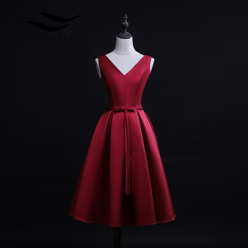 Sexy Red Cocktail Dresses 2019 A-line Sleeveless Satin Bow Satin Low Back Short  Prom Dresses  Plus Size   Vestidos De Fiesta