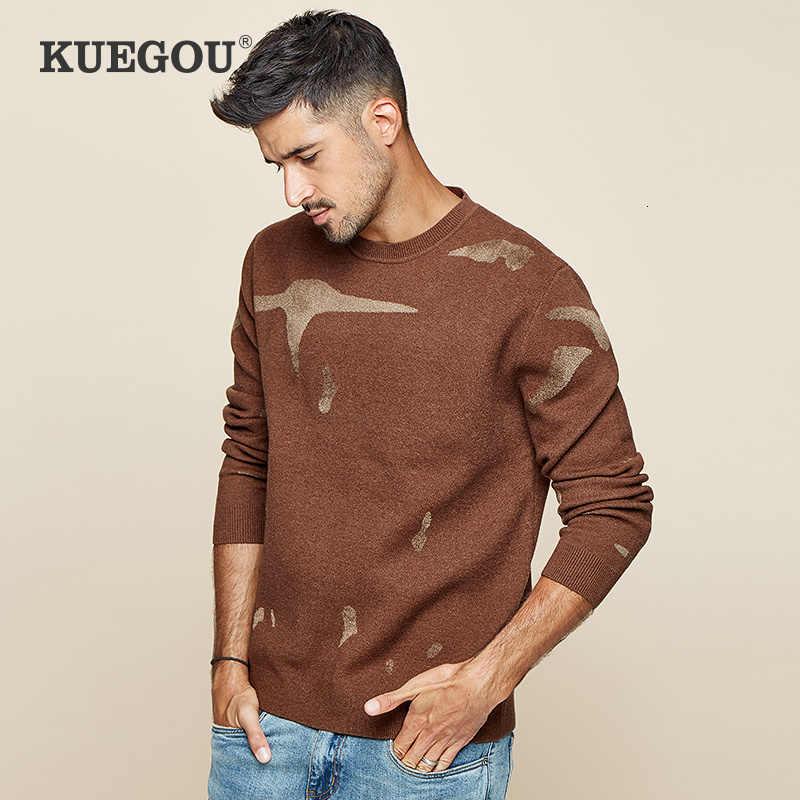 KUEGOU 2019 가을 인쇄 블랙 그린 스웨터 남성 풀오버 캐주얼 점퍼 남성 브랜드 니트 한국어 새 스타일 옷 12393