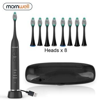 Cepillo de dientes eléctrico USB de carga inductiva cepillo de dientes sónico para adultos cepillo de dientes sónico eléctrico negro 8 cabezales de cepillo y estuche de viaje