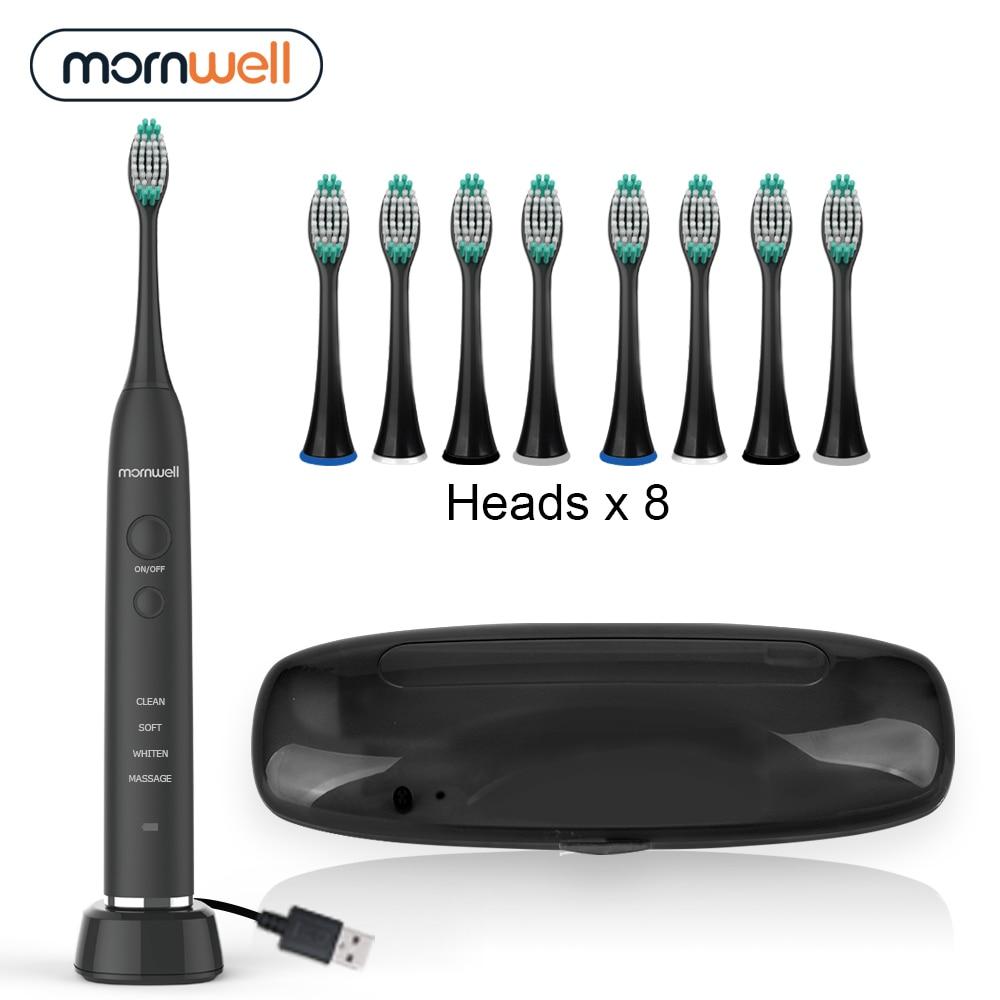 Cepillo de dientes eléctrico con carga inductiva USB, cepillo de dientes sónico eléctrico para adultos, cepillo de dientes negro con 8 cabezales y Estuche De Viaje