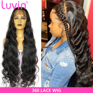 Luvin Body Wave 360 Lace Frontal Wigs 26 28 30 Inch Pre Plucked With Baby Hair Brazilian Human Hair 180 Density Front Wig(China)