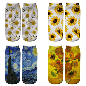 3D Printing Daisy Socks Women Harajuku Funny Cotton Short Socks Female Kawaii Cute Woman Ankle Socks
