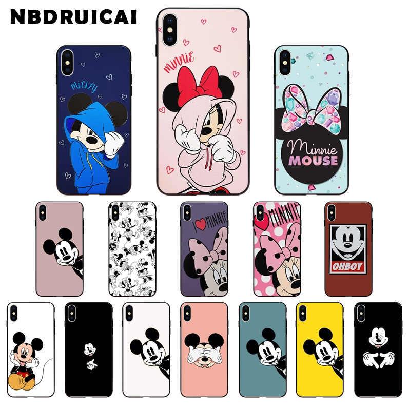 Nbdruicai bonito dos desenhos animados mickey minnie silicone de alta qualidade caso do telefone para o iphone 11 pro xs max 8 7 6 s plus x 5 5S se xr