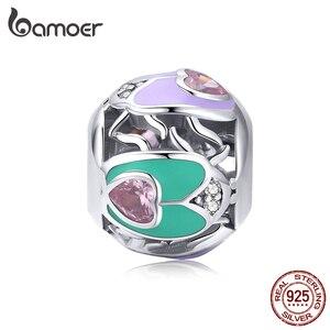 Bamoer ажурная круглая эмалированная 925 пробы Серебряная Подвеска для женщин, бисер в форме сердца для изготовления ювелирных изделий, браслет...