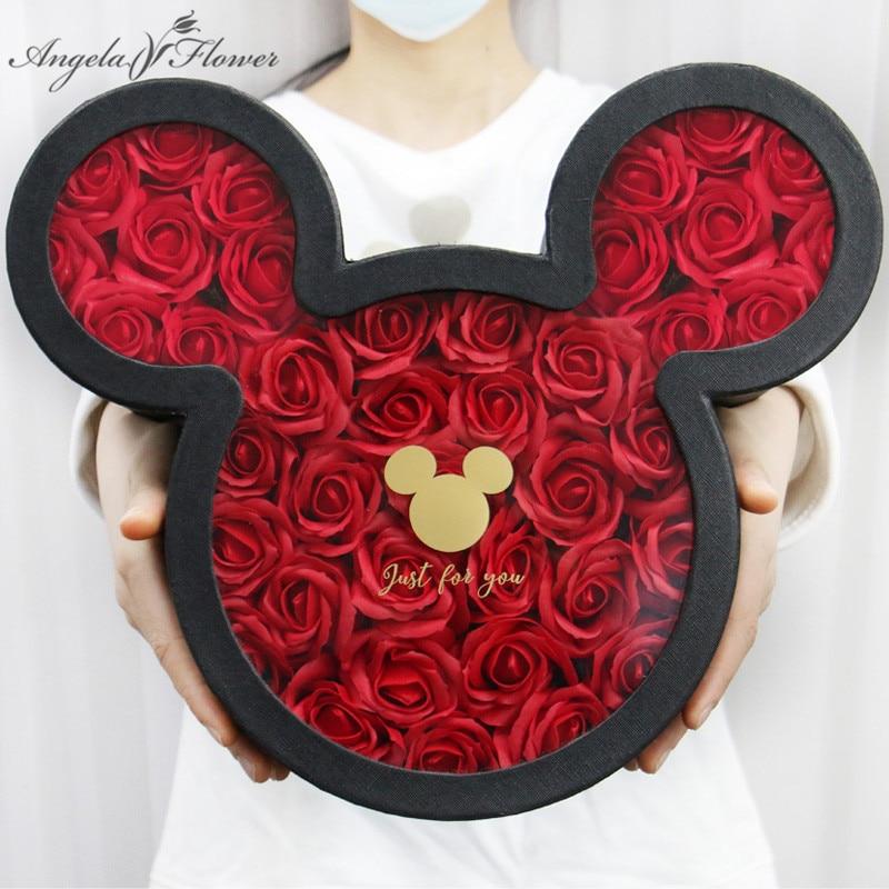 Rose Seife Blume Mit Mickey Geschenk Box Apple Schokolade Candy Box Freundin valentinstag Geburtstag Geschenk Hochzeit Party gefälligkeiten