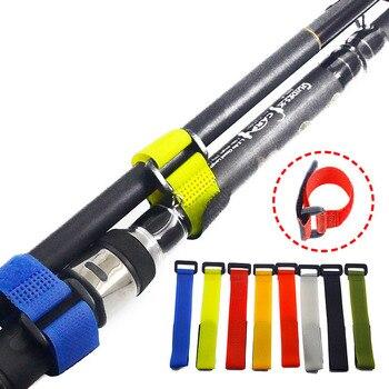 10PCS Fishing Rod Tie Holders Straps Belts Suspenders Fastener Hook Loop Cable Cord Ties Belt Fishing Tackle Fishing Accessories