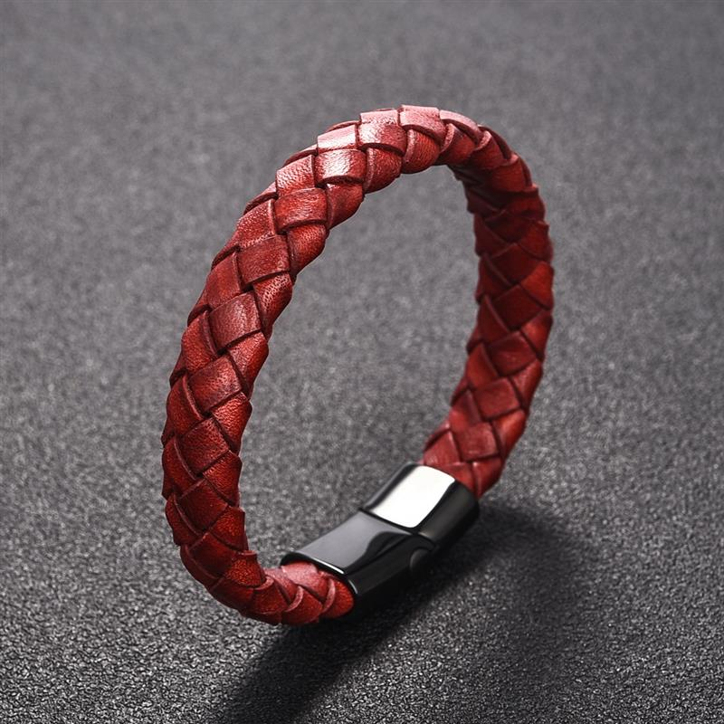Trendy Red Genuine Leather Bracelet for Men Jewelry Multicolor Stainless Steel Magnetic Clasp Braided Wristband Male Punk Gift