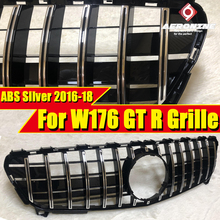 For MercedesMB W176 Front grille Grill GTS Style ABS Silver without sign A class A180 A200 A250 A45 A45AMG look grills 2016-2018