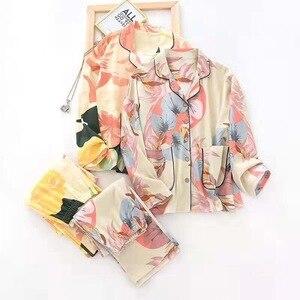 Image 2 - Women Long Sleeve Nightwear Autumn 100% Cotton Knitted Pajama Set Turn down Collar Leaves Printing Pajamas Loungewear Sleepwear