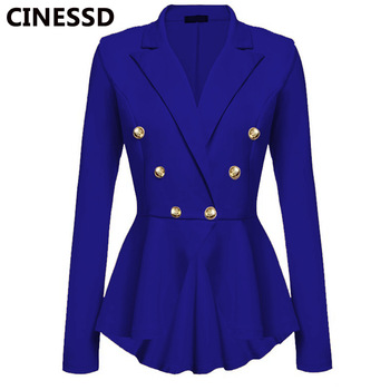 CINESSD Women Blazer Coats Notched Long Sleeves Double Breasted Metal Button Slim Casual Suits Jackets Solid Cotton Lady Blazers 1