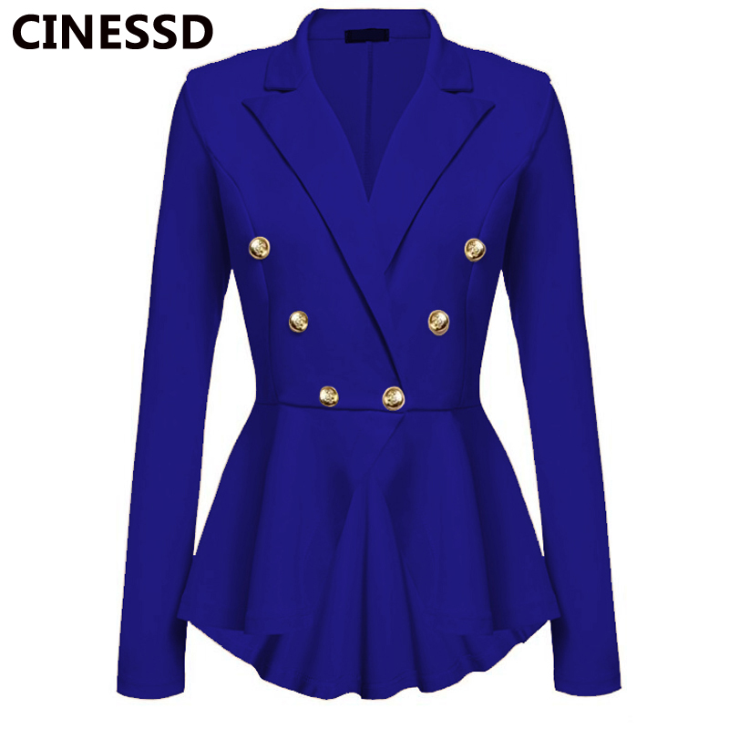 CINESSD Women Blazer Coats Notched Long Sleeves Double Breasted Metal Button Slim Casual Suits Jackets Solid Cotton Lady Blazers