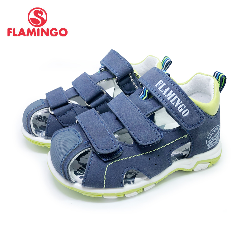 FLAMINGO Brand Summer Children Shoes Leather Insole Closed Toe Outdoor Sandals For Kids Boy Size 22-27 FreeShipping201S-DK-1815