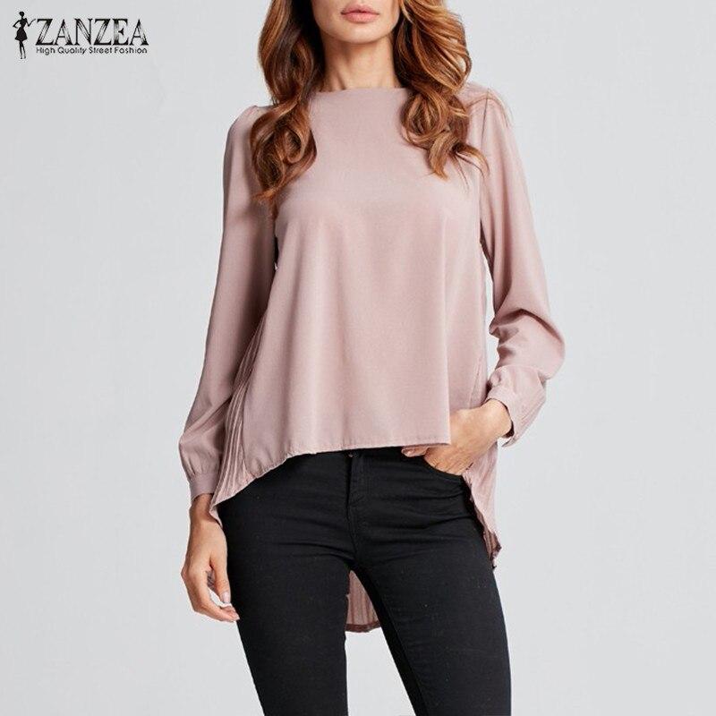 Women Tops And Blouses ZANZEA 2020 Autumn Asymmetrical Hem Tunic Casual Long Sleeve O Neck Blusas Femininas Office Lady Shirts