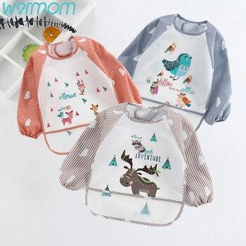 WARMOM Adjustable Baby Bibs Feeding Waterproof Cartoon Cloth Boys Grils Long Sleeve