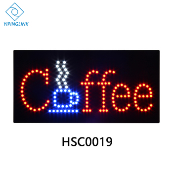 High brightness coffee shop LED sign board advertising  flashing neon light box  indoor 24*48cm  pull chain to control