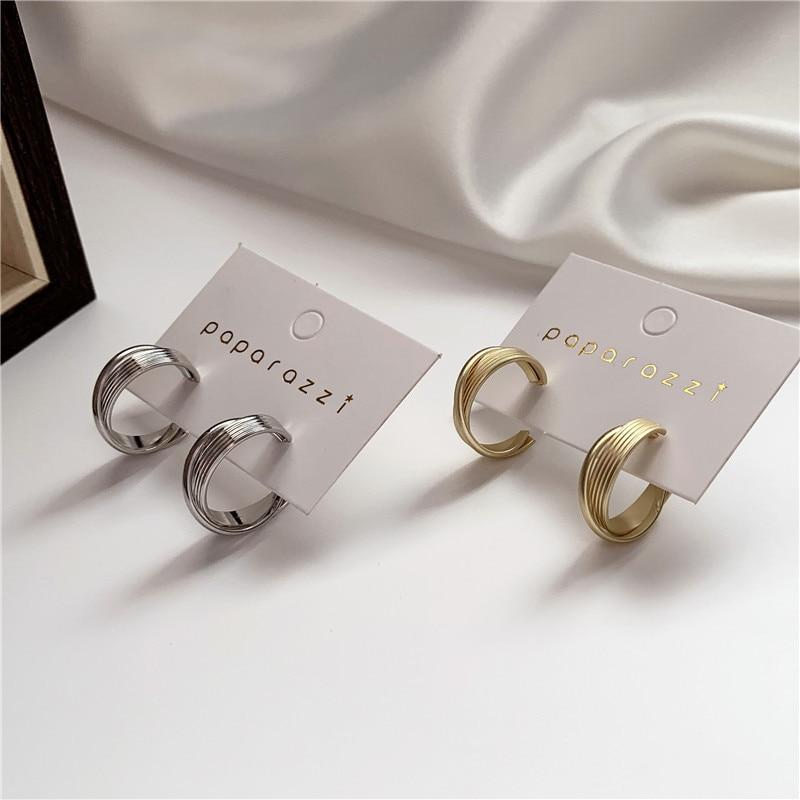 Hot Sale Fashion Jewelry Simple Gold Metal Stud Earrings Korea Geometric Design Earrings For Women Gift