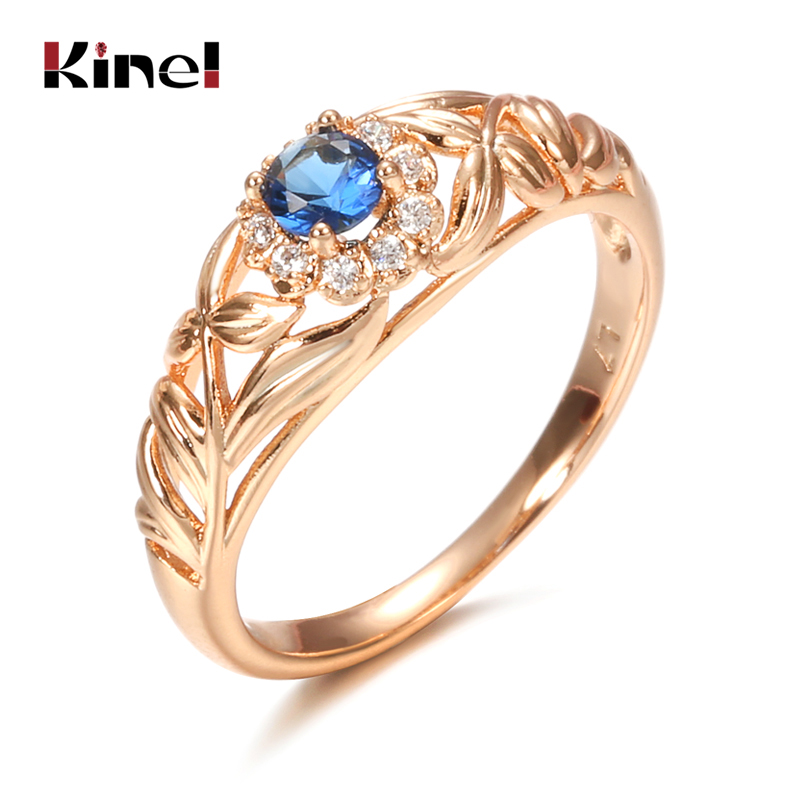 Kinel Blue Natural Zircon 585 Rose Gold Ring Hollow Crystal Flower Ethnic Bride Wedding Rings for Women Vintage Fine Jewelry