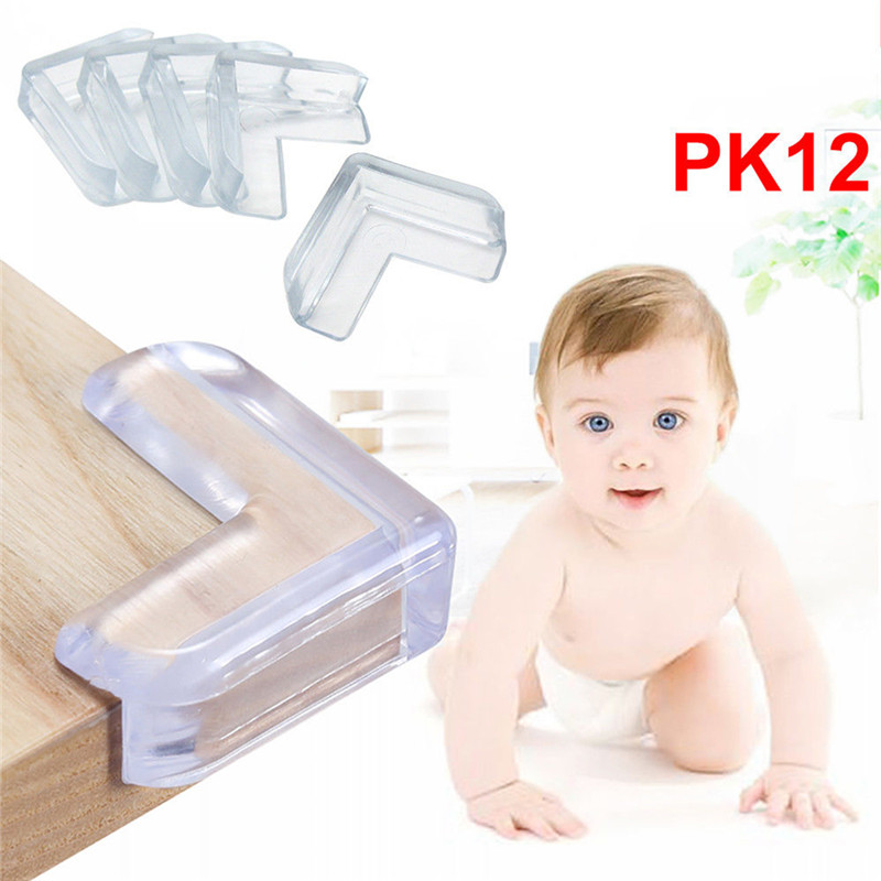 12pcs Baby Security Bumper Corner Child Baby Table Corner Cushion Soft Silicone Protectors Baby Infant Guard Desk Edge Corner