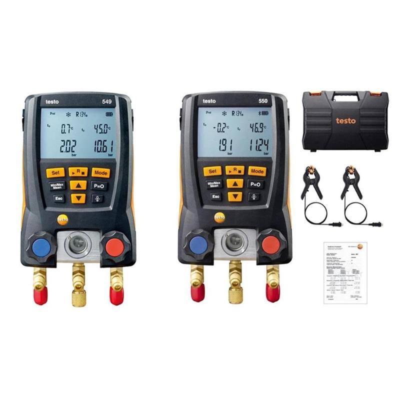 Testo 549/550 Digital Manifold Gauge Refrigeration Air Pressure Gauge For Refrigerant Manifold Gauge Set 2pcs Clamp Probes Tool
