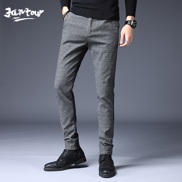 Stretch Plaid Casual Pants Men Spring summer High Quality Business thin Plaid Brand Men's Straight Gray Trousers Pant 33