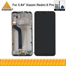 Orijinal Axisinternational Xiaomi Redmi 6 Pro için LCD ekran + dokunmatik ekran Digitizer için çerçeve ile Xiaomi A2 Lite MI a2 Lite