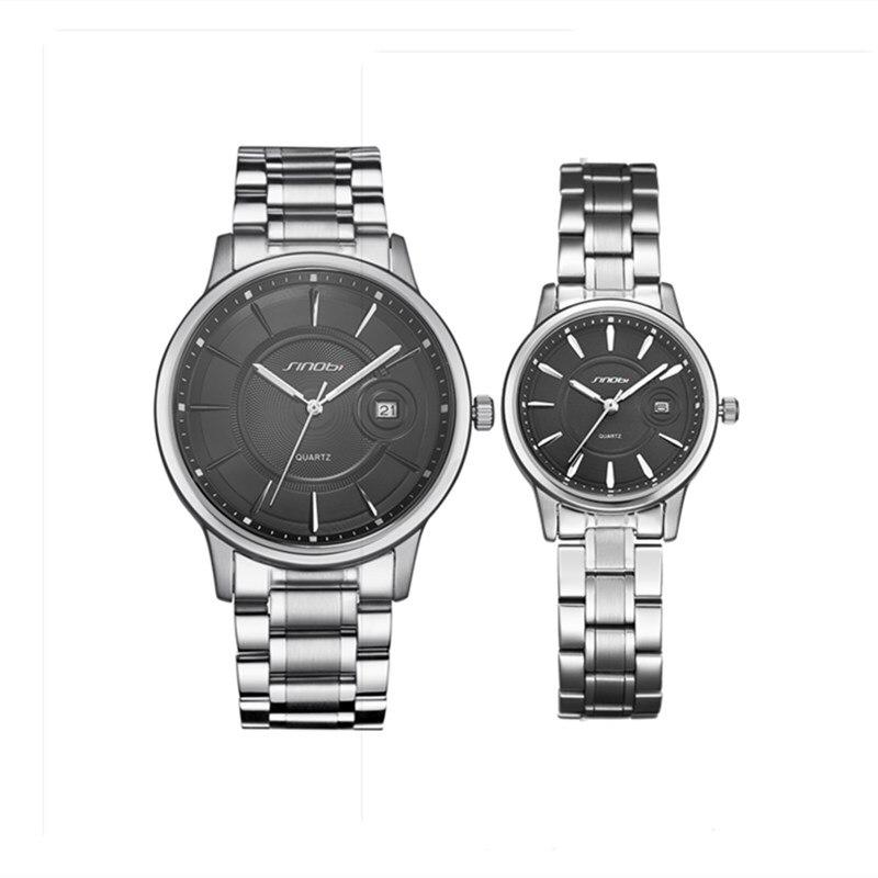 Couples Watch Fashion Men Women Lovers Watches Luxury Full Stainless Steel Couple Dress Quartz Wristwatch Waterproof Calendar