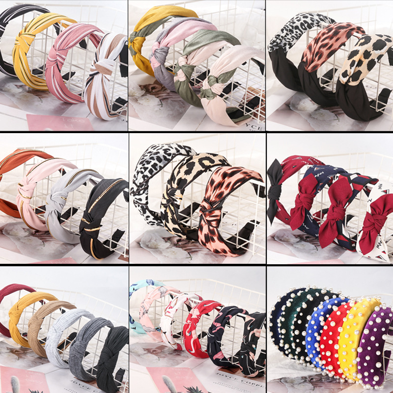 Free Shipping Wide Cloth Knot Women Hairbands Lovely Basic Girl's Headbands Lady's Headwear Hair Accessories