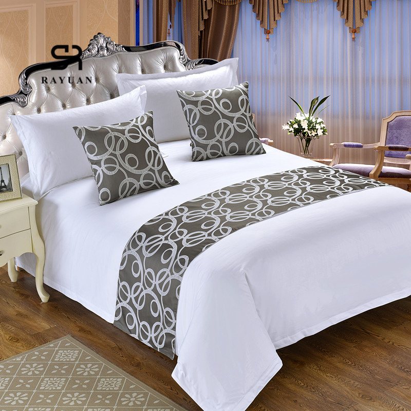RAYUAN Modern Polyester Hotel Bedspread Double Layer Bed Runner Throw Bedding Protector Single Queen King Bed Tail Towel|Bedspread| |  - title=