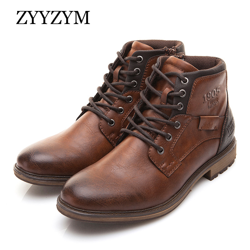ZYYZYM Men Boots Leather Autumn Winter Vintage Style Ankle Boots Men Lace Up Footwear Fashion Casual Shoes Men Botas Hombre
