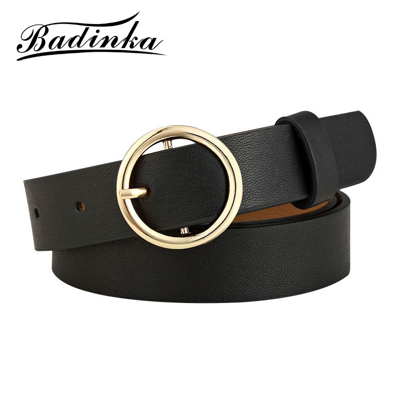 Badinka Circle-Belt Women Jeans Round Metal Gold Female Silver Black White Pants New