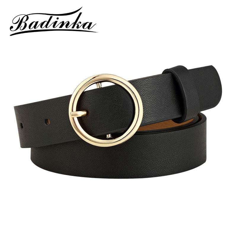 Badinka New Gold Round Metal Circle Belt Female Gold Silver Black White PU Leather Waist Belts For Women Jeans Pants Wholesale