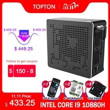 TOPTON 10th Gen Nuc Intel i7 10750H i9 9880H Xeon 2286M Mini PC 2 Lans Win10 2 * DDR4 2 * NVME كمبيوتر مكتبي للألعاب 4K DP HDMI2.0