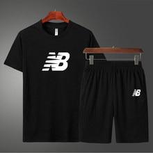 New men's sportswear 2021 summer two-piece men's short-sleeved T-shirt top shorts suit men's sportswear fitness running clothes
