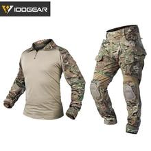 IDOGEAR Tactical Uniform BDU G3 Combat Shirt & Pants Knee Pads Update Ver Camo Airsoft Military Combat Uniform