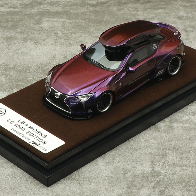 JEC 1:64 Liberty Walk LB Performance Lexus LB LC500 Resin Discolor Purple Diecast Model Car