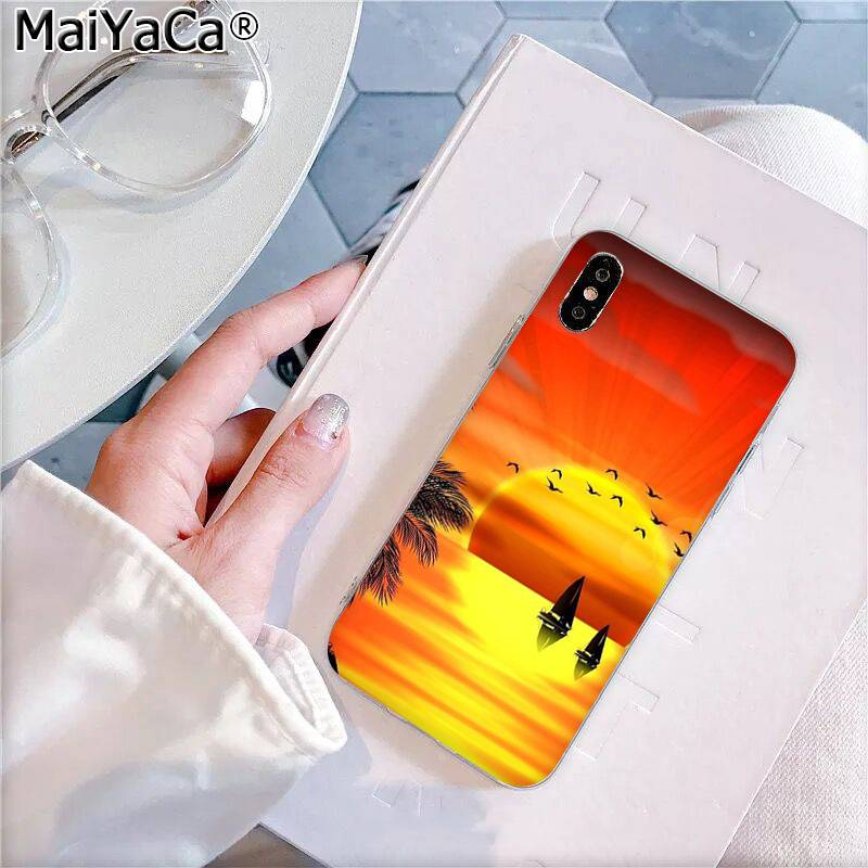 Maiyaca Beach Landscape Coconut Palm Trees After Colorful Sunset Phone Case For Iphone 11 Pro 8 7 66s Plus X Xs Max 5s Se Xr