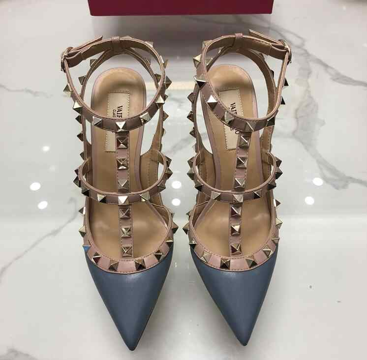 New Classics Women High Heel Shoes Brand Sandal 10cm Thin Heel Pointed Toe Rivets Shoes Fashion Wedding Shoes Party Shoes 34-43