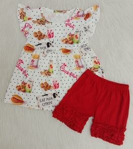 2020 Baby Girls Summer Wear Clothes Flutter Sleeve Outfit Red Icing Shorts Hamburger Fried Chicken Shirt Kids Wholesale Clothes(China)