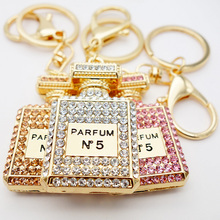 Car accessories girl gift tote bag pendant 3 color rhinestones shiny perfume bottle key chain wholesale