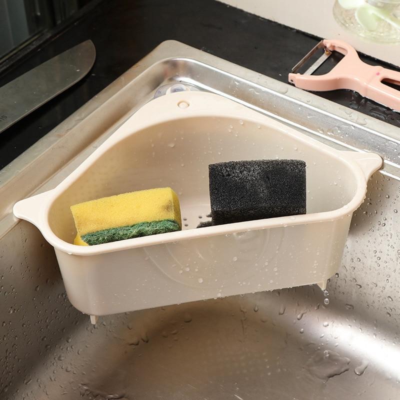 Multifunctional Corner Triangular Sink Suction Cup Sink Drain Basket Dishwashing Cloth Drain Rack Kitchen Bathroom Storage Rack