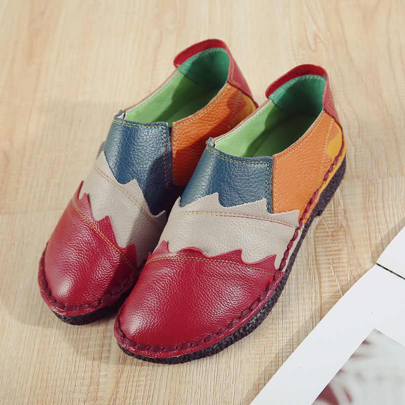 Xiuten 2020 kadın Flats sonbahar hakiki deri kadın ayakkabı ayakkabı düz mokasen rahat bayanlar loafer'lar üzerinde kayma inek sürüş ayakkabısı footwea