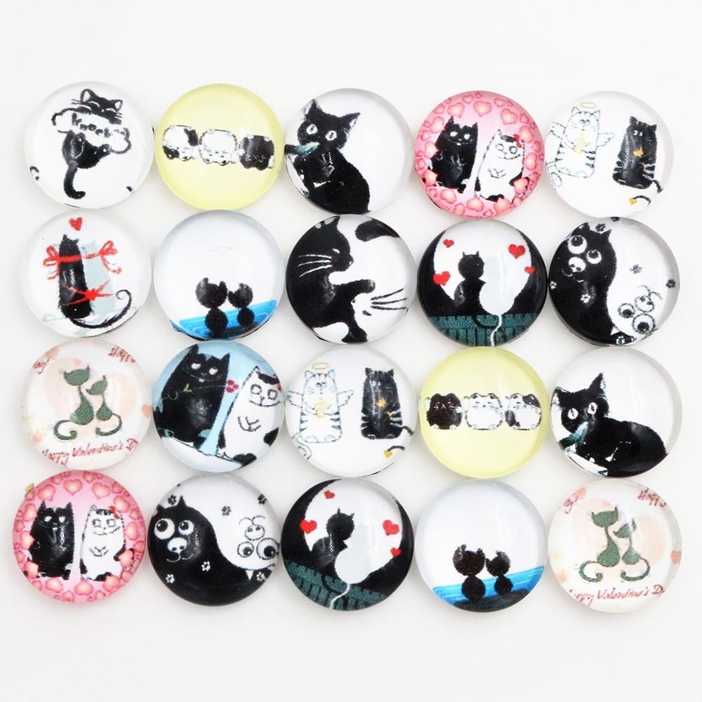 50pcs/Lot 12mm Photo Glass Cabochons Mixed Color Cabochons For Bracelet Earrings Necklace Bases Settings-C5-55