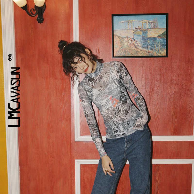 LMCAVASUN rétro journal imprimé col haut manches longues rue perspective maille fond chemise femmes