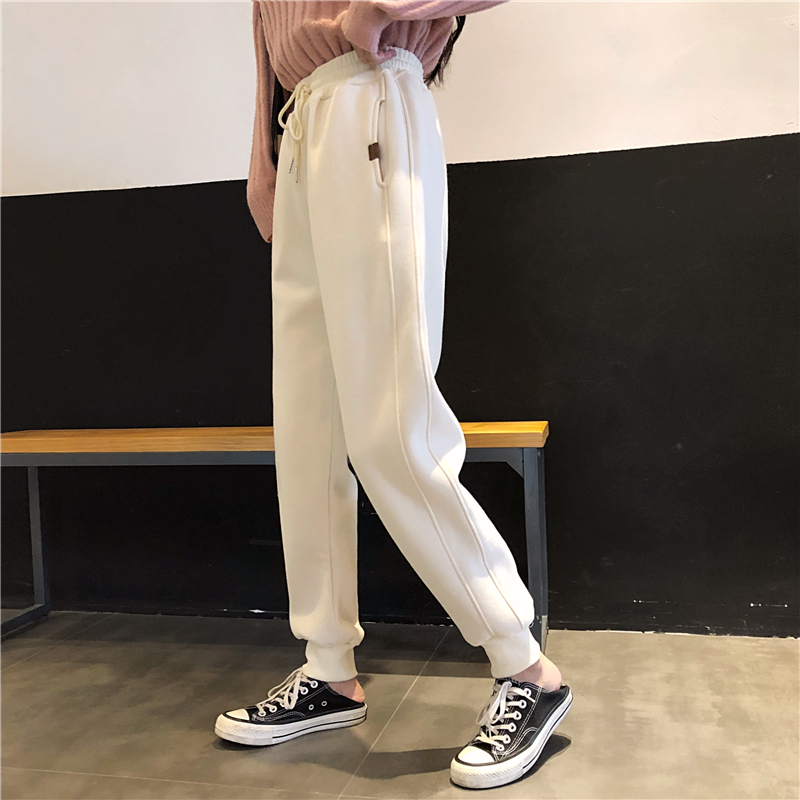 Autumn Winter Warm Loose Sweatpants Women Casual Velvet Thick High Waist Pants Trousers Female Joggers Sweatpants Harem Pants