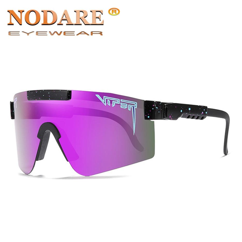 Pit Viper High Quality Polarized Sunglasses Flat Top Windpro Of Sport Fashion Eyewear TR90 Purple Frame Mirrored Lens Sun Glass