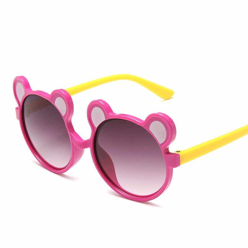 キッズ偏光サングラス女の子少年子供 eyegalsses ベビーカートンサングラス柔軟なラウンドクマパターン軽量眼鏡