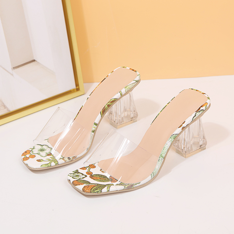 High Quality New Women Sandals PVC Crystal Heel Transparent Women Sexy Clear High Heels Summer Sandals Pumps Shoe Size 35~43