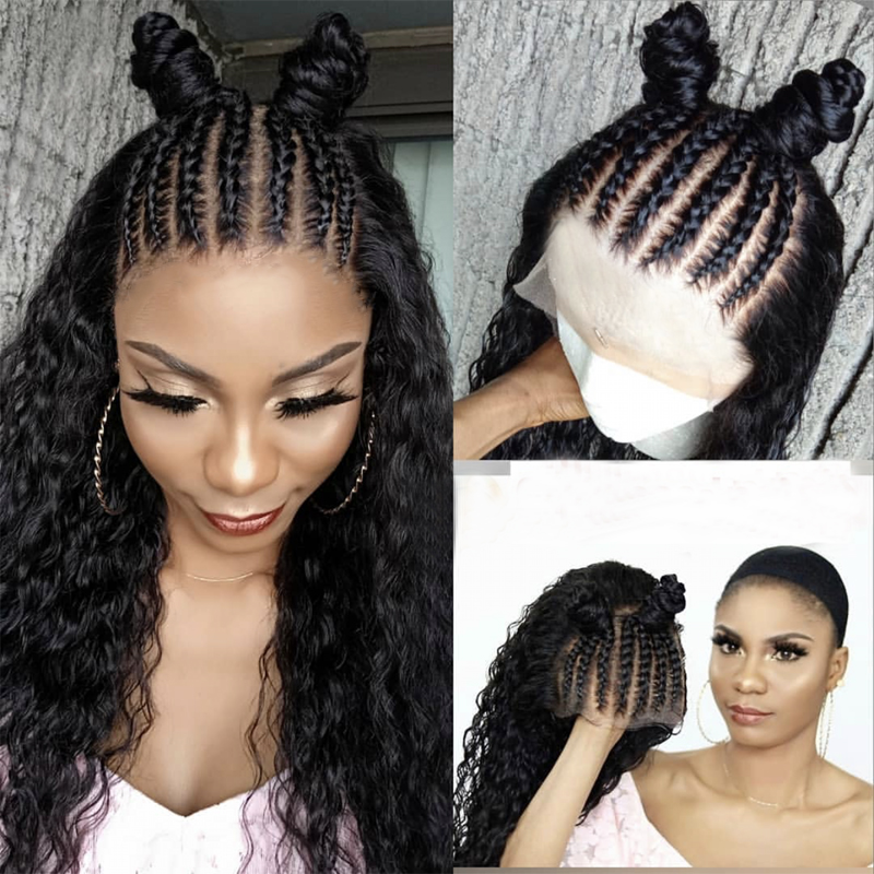 Charisma 13X6 Black Wig Braids And Curly Wigs Heat Resistant Hair Synthetic Lace Front Wig With Baby Hair Synthetic Wig