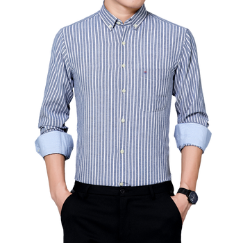 vertical striped 3 4 sleeve pocket day dress Striped Oxford Shirt Japanese Style Casual Tops Male Long Sleeve Purple Blue Gray Vertical Stripe Cotton Shirts Men Clothings