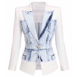 Calle 2020 el más nuevo estilo de las mujeres Chaqueta Slim de León botón Denim chaqueta de retazos